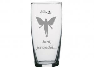 broušená sklenice s andělem - dárek z lásky pro partnerku