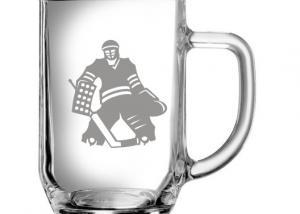 sklenice s obrázkem gólmana - dar pro brankáře hokeje