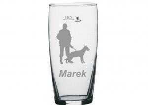 dárek s motivem psa - sklenice s obrázkem psovoda