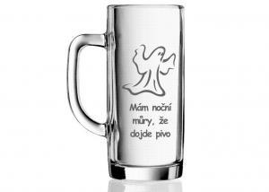 gravírovaná sklenice pro pivaře - dar s obrázkem strašidla