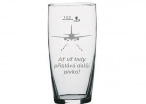 dárek pro pilota - sklenice na pivo bez ucha