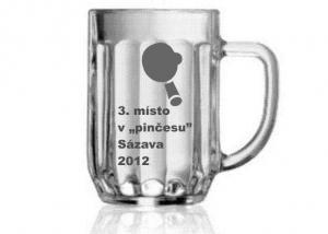 sklenice jako sportovní pohár za 2. místo v turnaji stolního tenisu