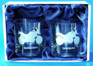 svatební dárkové sklenice v dárkovém balení pro motorkáře