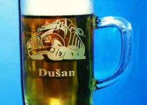 broušená dárková sklenice pro řidiče s obrázkem náklaďáku