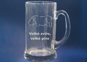 Litrový tuplák na pivo s motivem na přání - sklenice s hrochem