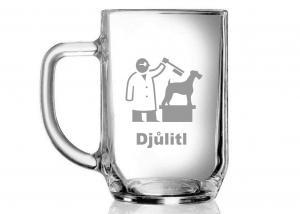 dar pro veterináře - pískovaná sklenice s přezdívkou
